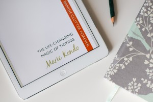 The Life Changing Magic of Tidying book cover on a Kindle | Mother Bird blog